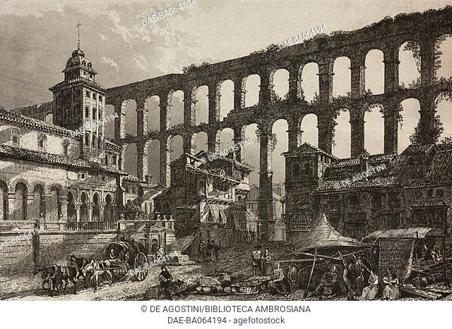 Roman Aqueduct, Segovia, Spain, engraving by Lemaitre from Espagne, by Joseph Lavallee and Adolphe Gueroult, L'Univers pittoresque