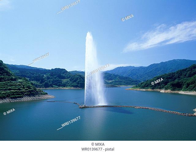 Big Fountain of Gassan Lake, Nishikawa, Yamagata, Japan
