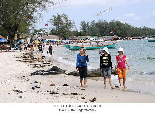 Three Cambodian girls on the beach in Sihanoukville