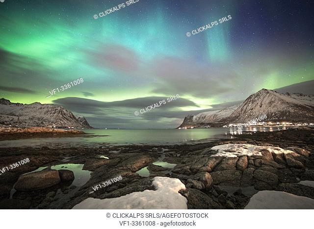 Norvegian's fjord by night, Lofoten Islands, Svolvear district, Nordland, Norway