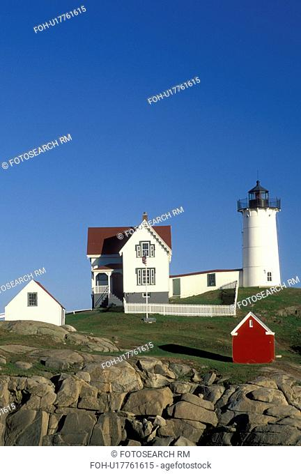 lighthouse, York Harbor, ME, Maine, Nubble Light, Cape Neddick Light at York Harbor on the Atlantic Ocean