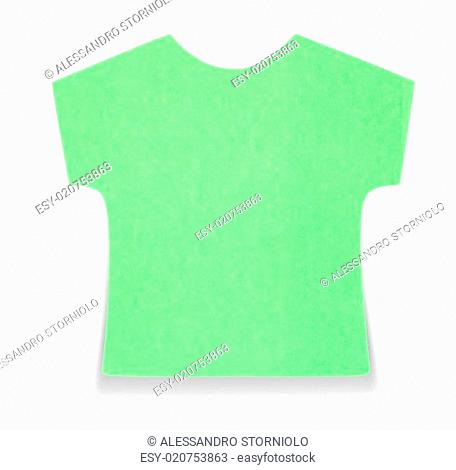 Flat green T-shirt sticky note, isolated on white background, with shadow on bottom