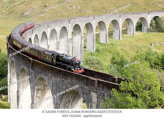 Viaduct of Glenfinnan where a touristic steam train crosses everyday, Highlands, Scotland