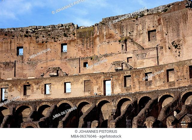 Europe, Italy, Latium, Rome, architecture detail at the Coliseum (north face)