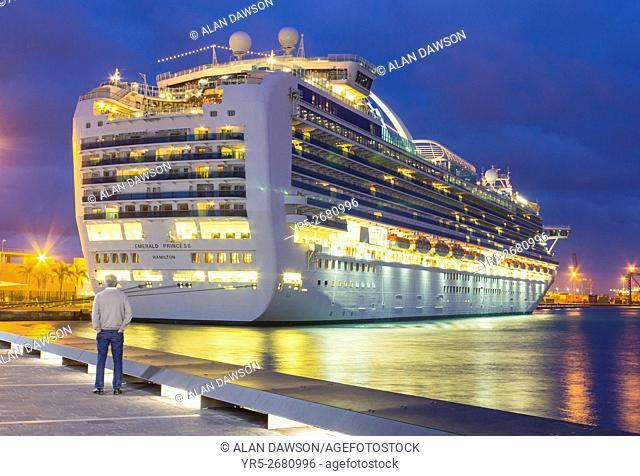 Cruise ship Emerald Princess visiting Las Palmas on Gran Canaria, Canary Islands, Spain