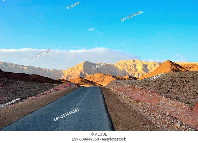 Desert road in the National Park Timna. Arabah, Israel