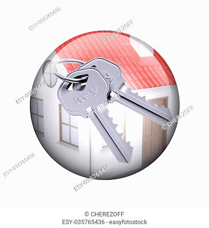 Two metal keys with house. Spherical glossy button. Web element