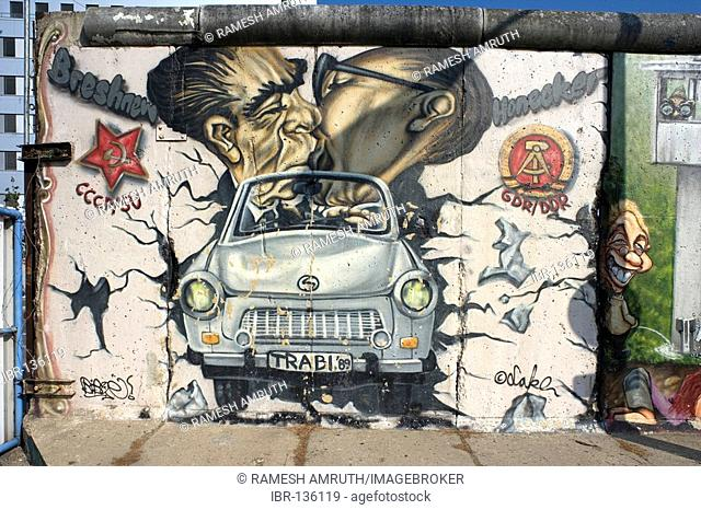 Berlin wall with Breschnew and Honecker Germany