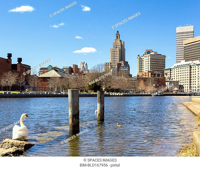 High rise buildings on Providence waterfront, Rhode Island, United States