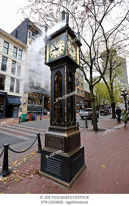 old steam powered clock on water street in the historic gastown district Vancouver BC Canada