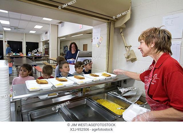 Dearborn, Michigan - Debra Sabaugh in the cafeteria at Lindbergh Elementary School