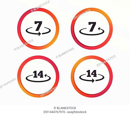 Return of goods within 7 or 14 days icons. Warranty 2 weeks exchange symbols. Infographic design buttons. Circle templates. Vector