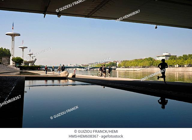 France, Rhone, Lyon, the banks of the Rhone river, the Guillotiere terraces, the quay Claude Bernard
