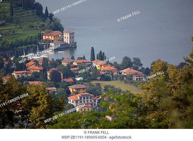 Italy, Lombardy, Lake Como, Bellagio, View of Pescallo & Lake