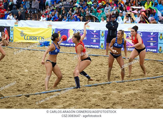 LAREDO, SPAIN - JULY 31: Juliana Xavier Andrade de Oliveira and Andrea Sanchez, BMP Algeciras players in the Spain handball Championship celebrated in Laredo in...