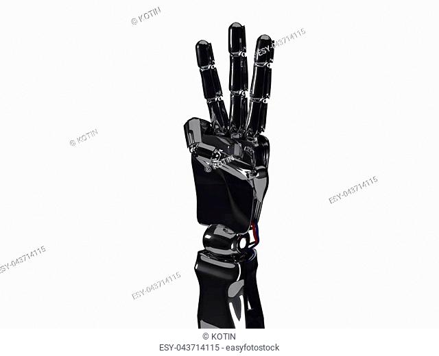 Metallic robot hand shows three fingers. Future technology concept. 3d rendering