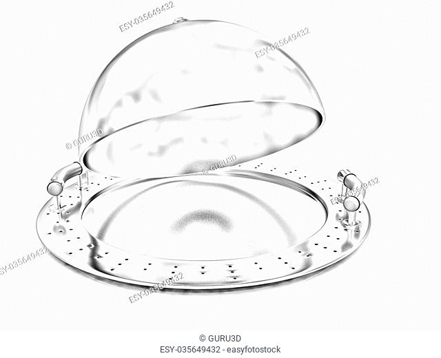 Glossy golden salver dish under a golden cover on a white background