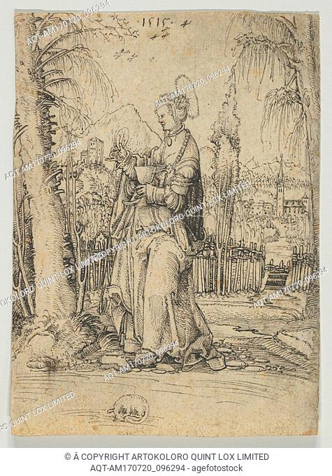 Saint Barbara in a Landscape, 1515, Pen and black ink, 5 13/16 x 4 3/16 in. (14.8 x 10.7 cm), Drawings, Anonymous, Swiss, 16th Century (?)