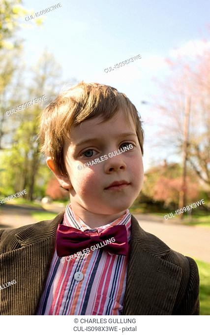 Portrait of boy wearing bow tie and jacket