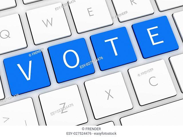 vote keyboard isolated on white background 3d illustration