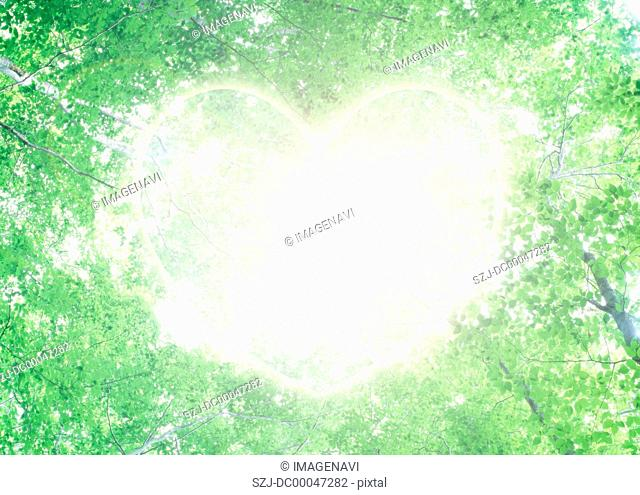 Ecology image of fresh green and heart