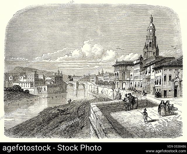Old bridge across Segura river and the cathedral Murcia. Spain, Europe. Old 19th century engraved illustration, El Mundo en la Mano 1878