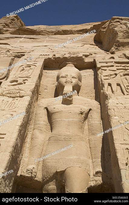 Statue of Ramses II, Temple of Hathor and Nefetari, UNESCO World Heritage Site, Abu Simbel, Egypt