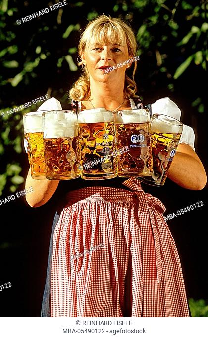 waitress with beer mugs