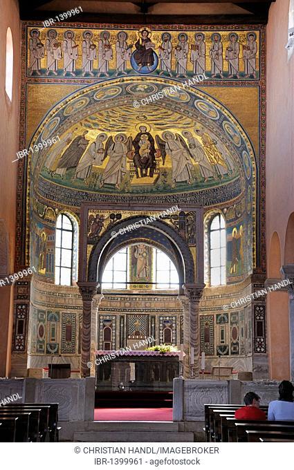 Ciborium from the 12th Century and mosaics from the 6th Century, Euphrasian Basilica in Porec, Croatia, Europe