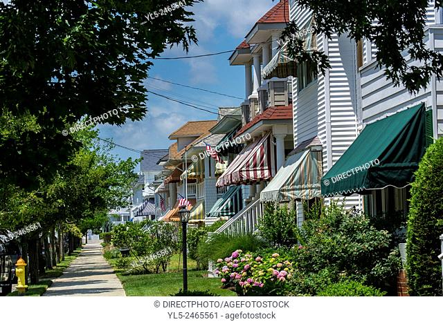 Ocean City, New Jersey, USA, Street Scenes, view of Wooden houses with awnings, Resort Town