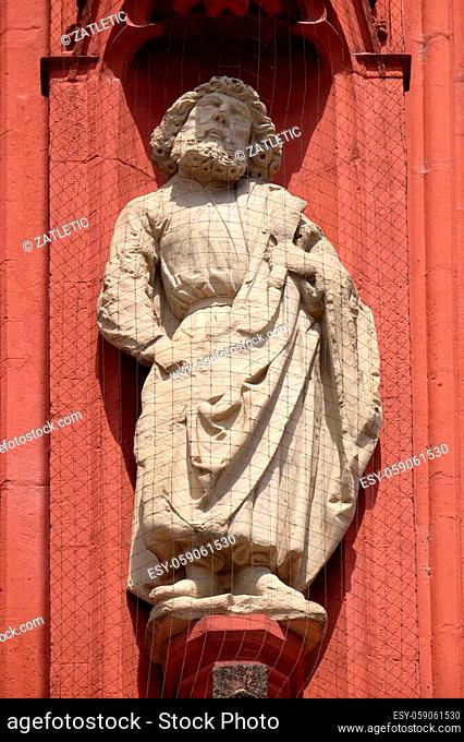 Saint Bartholomew the Apostle statue on the portal of the Marienkapelle in Wurzburg, Bavaria, Germany