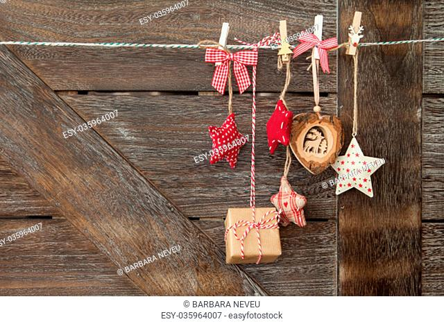 festive christmas decoration against background of wood