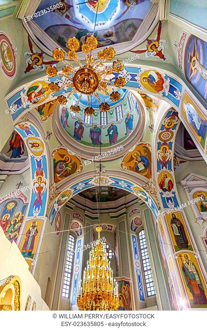 Saint George Cathedral Interior Dome Vydubytsky Monastery Kiev Ukraine. Vydubytsky Monastery is the oldest functioning Orthordox Monasatery in Kiev