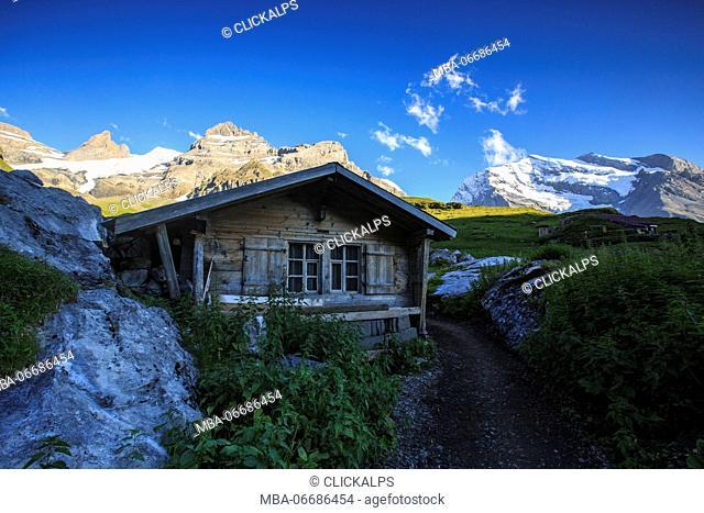 Wood cabin around Lake Oeschinensee Bernese Oberland Kandersteg Canton of Bern Switzerland Europe