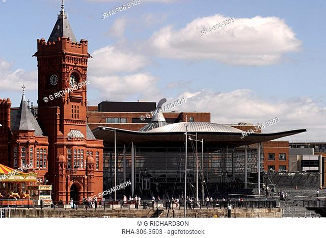 Cardiff Bay skyline, with Pierhead building and Welsh Assembly, Cardiff, Wales, United Kingdom, Europe