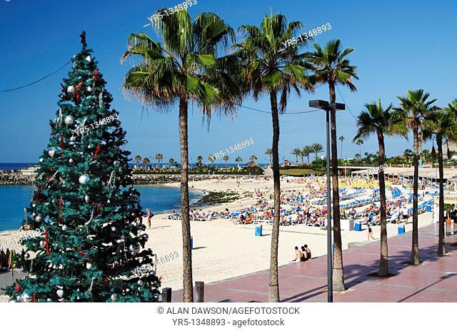 Christmas tree on Playa de Amadores beach near Puerto Rico, Gran Canaria, Canary Islands, Spain
