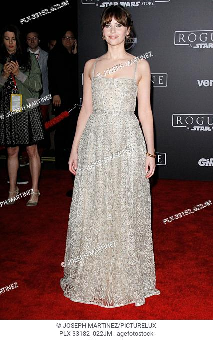"""Felicity Jones at the world premiere of """"""""Rogue One: A Star Wars Story"""""""" held at the Pantages Theatre in Hollywood, CA, December 10, 2016"""