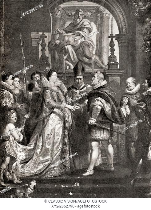 The Wedding by Proxy of Marie de' Medici to King Henry IV, after the painting by Peter Paul Rubens. Marie de' Medici, 1575-1642
