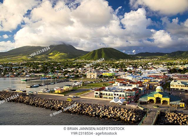 Evening sunlight over Basseterre, St Kitts, West Indies