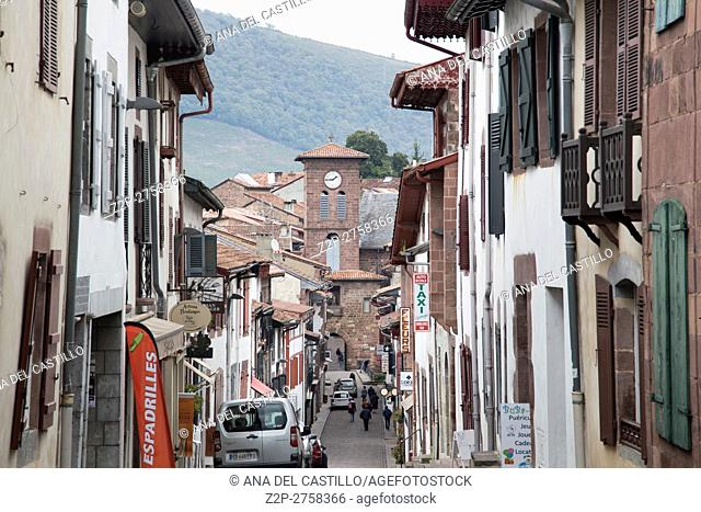 Saint Jean Pied de Port is the traditional starting point for the Camino de Santiago, France, UNESCO - the Pilgrim's Road to Santiago de Compostela on October...