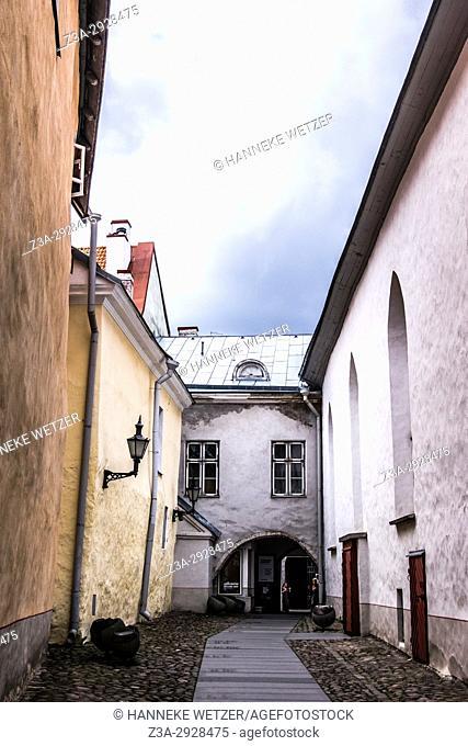 Narrow street of the Great Guild Hall, Estonian History Museum in Tallinn, Estonia