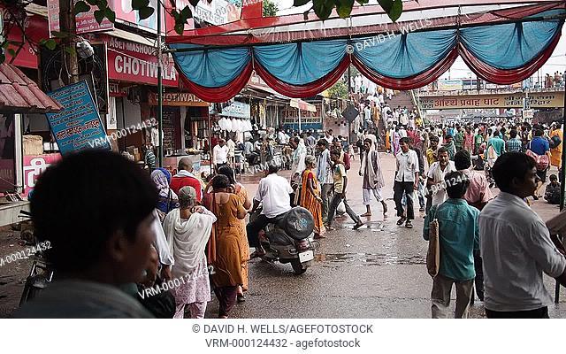 Crowded street scene at Haridwar, Uttarakhand, India