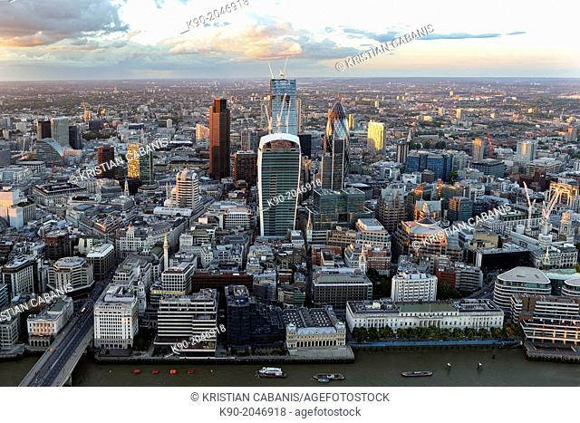Aerial view of London during sunset with the Financial District and the Guerkin in the foreground, England, Great Britain, United Kingdom, Europe