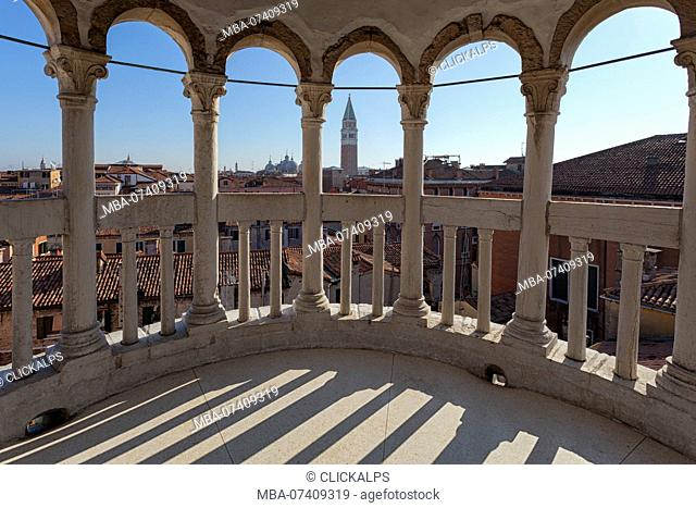 View from the summit of Contarini Dal Bovolo Stairway, Venice, Veneto, Italy