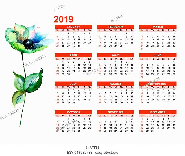 Template for calendar 2019 with Gerber flowers, watercolor illustration