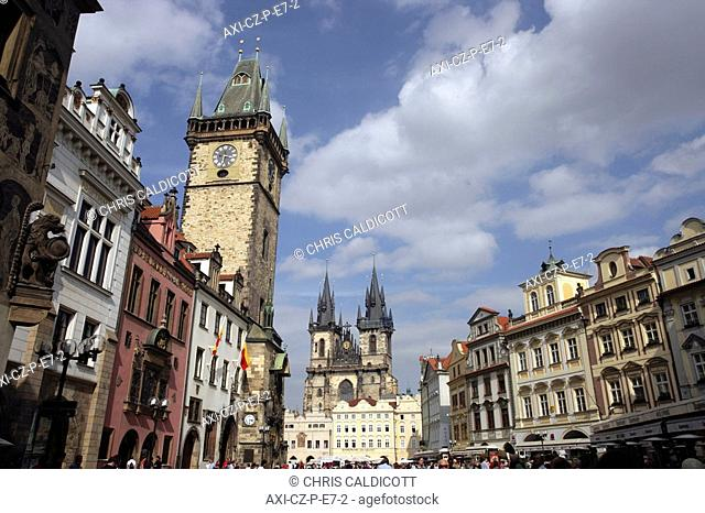 Tyn Cathedral and Astronomical Clock in old town square