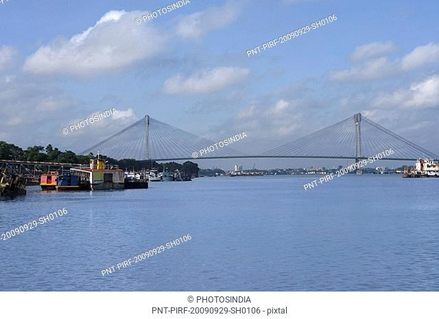 Bridge across the river, Vidyasagar Setu, Hooghly River, Kolkata, West Bengal, India