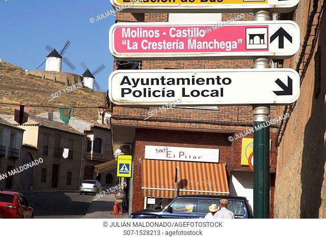 Interior streets with the windmills of Consuegra Consuegra background, Toledo, Castilla La Mancha, Spain