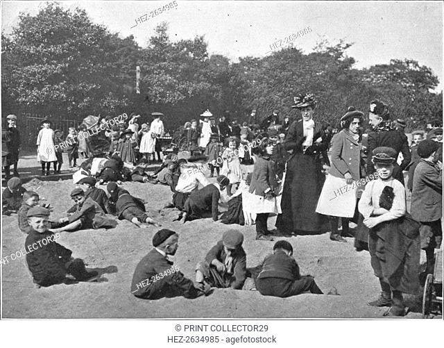 The sandpit, Victoria Park, London, c1900 (1901). Artist: Unknown