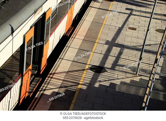 Train station Hospitalet, Rambla Just Oliveras, Hospitalet de llobregat, Barcelona province, Catalonia, Spain